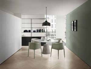 Tisch Rock, Stühle Achille, Regal Minima 3.0 (© MDF Italia)