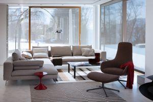 Sessel Kent, Sofa Flamingo, Beistelltisch Tempo (© Zanotta)