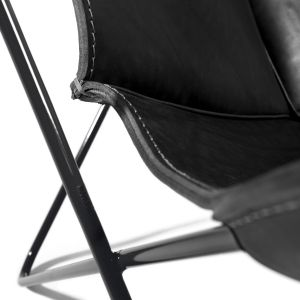Butterfly Chair - Gestell Schwarz/Naht Schwarz (© Manufaktur plus)