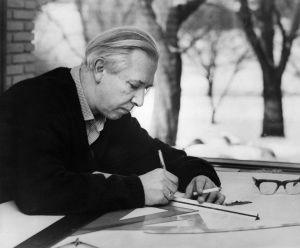 Hans J. Wegner am Zeichentisch (© Wilstrup)