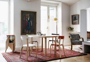 Aalto Tisch, Stuhl 69, Leuchte A808, Sessel 402 (© Artek)