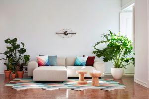 Soft Modular Sofa, Soft Modular Ottoman, Herringbone Pillows, Eye Clock, Cork stools, L'oiseau marble (© Vitra)