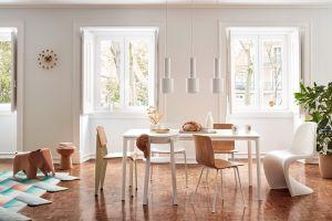 Standard, All Plastic Chair, Panton, Hal Ply, Cork Stool, Elephant Plywood, Plate Dining Table, Ball Clock (© Vitra)